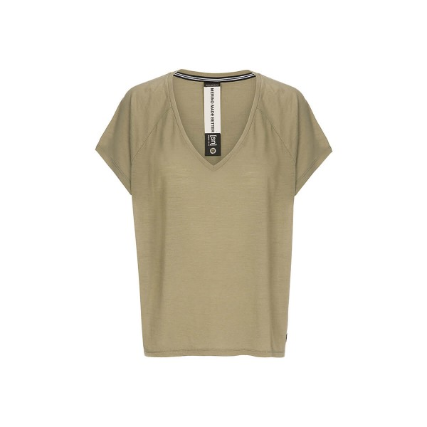 Super.Natural Jonser Tee Printed Damen Merino Funktionsshirt khaki
