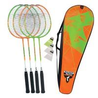 Talbot Torro Badminton Set 4 Attacker Thermobag orange grün
