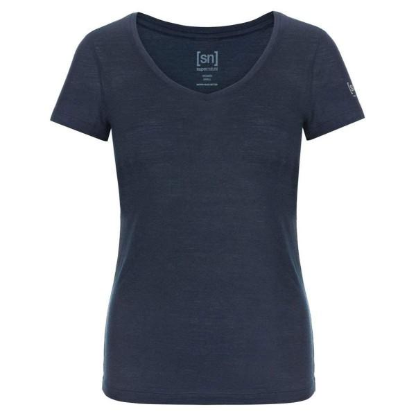 Super.Natural W Base V Neck Tee 140 Merino Damen T-Shirt blau