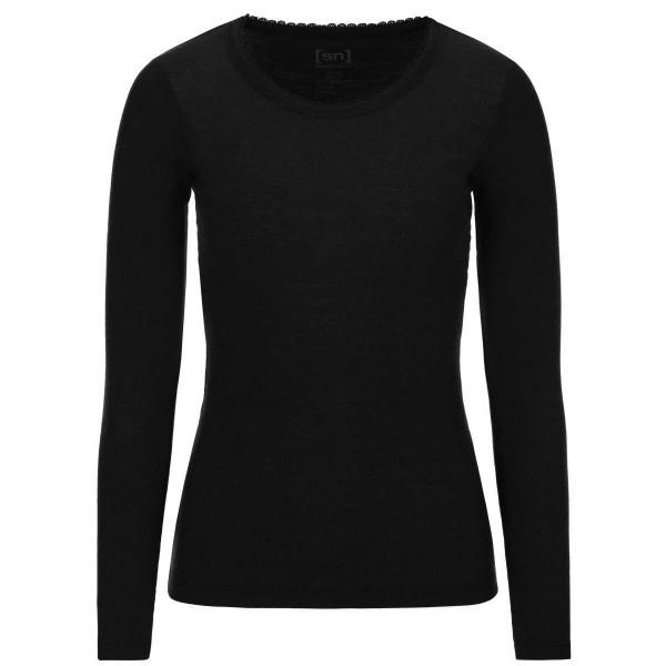 Super.Natural Scarlett RIB LS Damen Merino Unterhemd schwarz