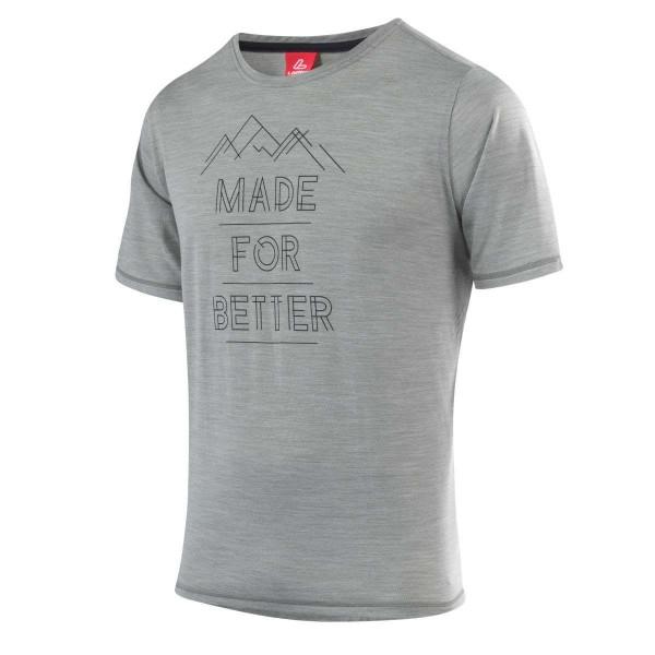 Löffler Printshirt Merino Funktionsshirt grau