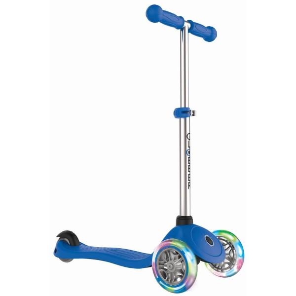 Globber Primo Lights Scooter mit T-Lenker Kickboard mit Leuchtrollen blau