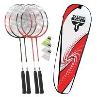Talbot Torro Badminton 4 Attacker Set mit Bälle und Tasche Thermobag rot