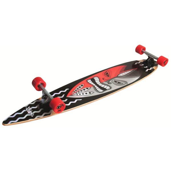 No Rules Longboard Guru Abec 7 Skateboard schwarz rot