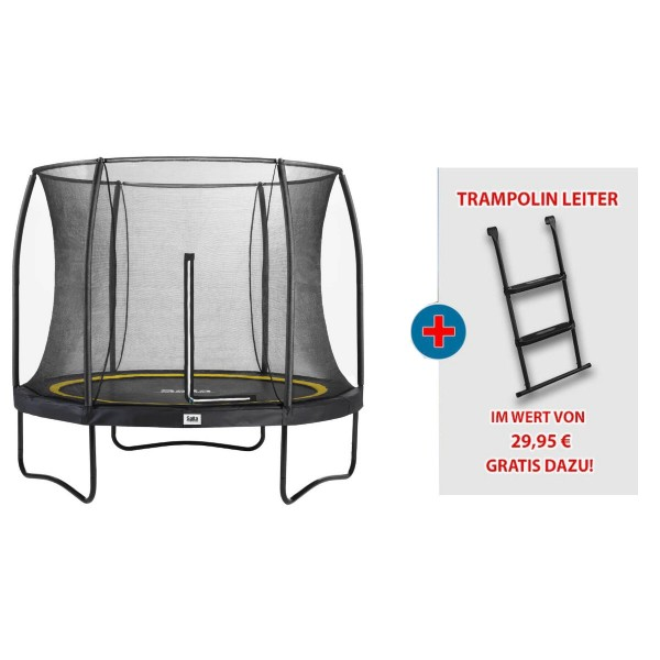 Salta Trampolin Comfort Edition rund schwarz Bundle mit Leiter