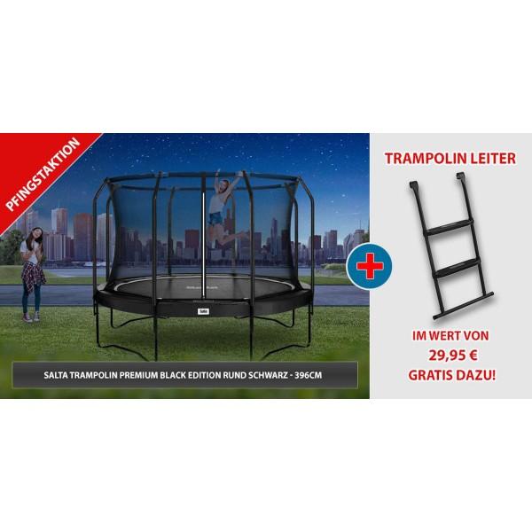 Salta Trampolin Premium Black Edition rund schwarz 396cm Set mit Leiter