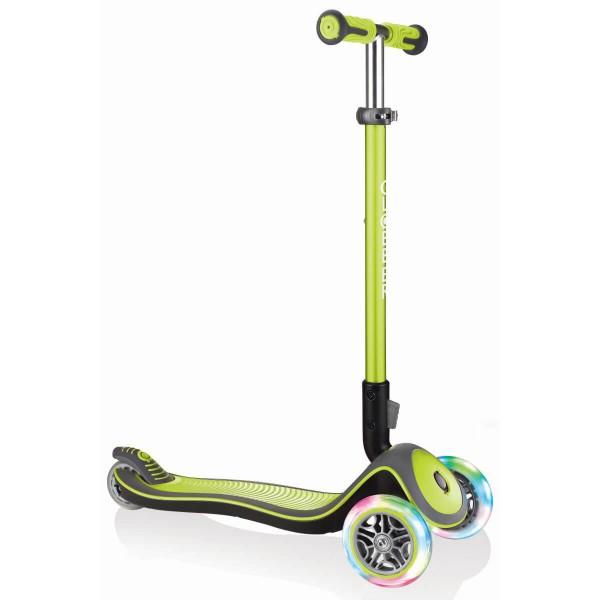 Globber Elite Deluxe Scooter mit Leuchtrollen grün