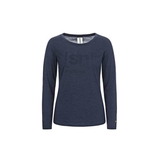 Super.Natural W Essential I.D. LS Damen Merino Langarmshirt blau