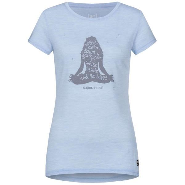 Super.Natural Printed Tee Damen Merino Funktionsshirt blau