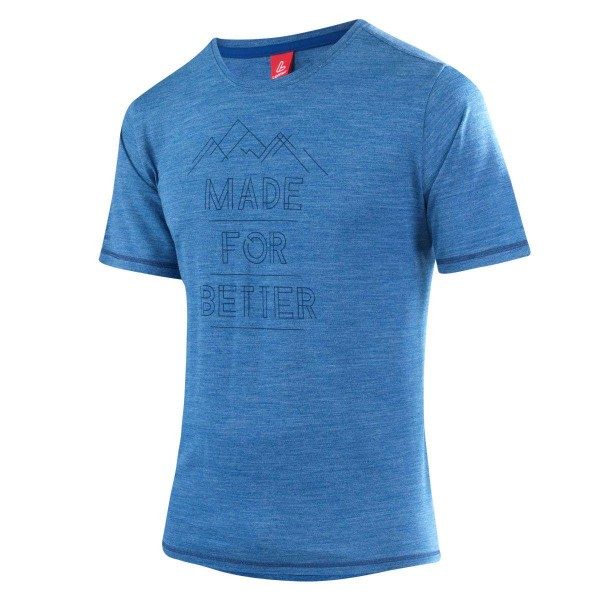 Löffler Printshirt Merino Funktionsshirt blau