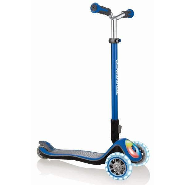 Globber Elite Prime Scooter mit Leuchtdeck und Leuchtrollen blau
