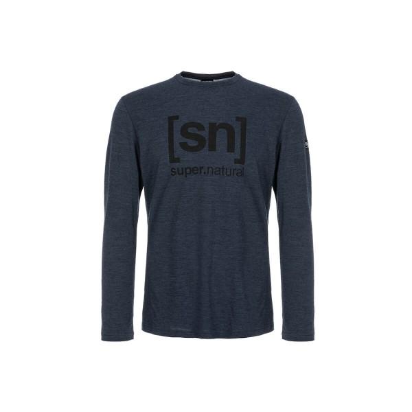 Super.Natural Essential I.D. LS Herren Merino Langarmshirt blau