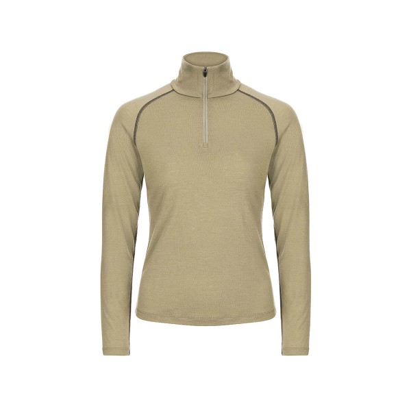 Super.Natural W Base 1/4 Zip 175 Damen Merino Funktionsshirt khaki