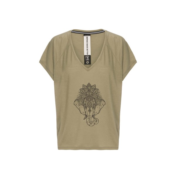 Super.Natural Jonser Tee Printed Damen Merino Funktionsshirt beige
