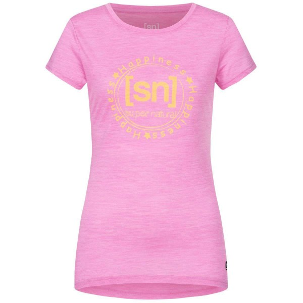 Super.Natural Printed Tee Damen Merino Funktionsshirt pink
