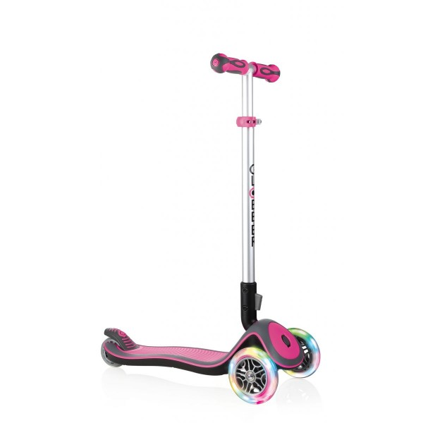 Globber Elite Lights Scooter mit T-Lenker Kickboard mit Leuchtrollen pink-grau