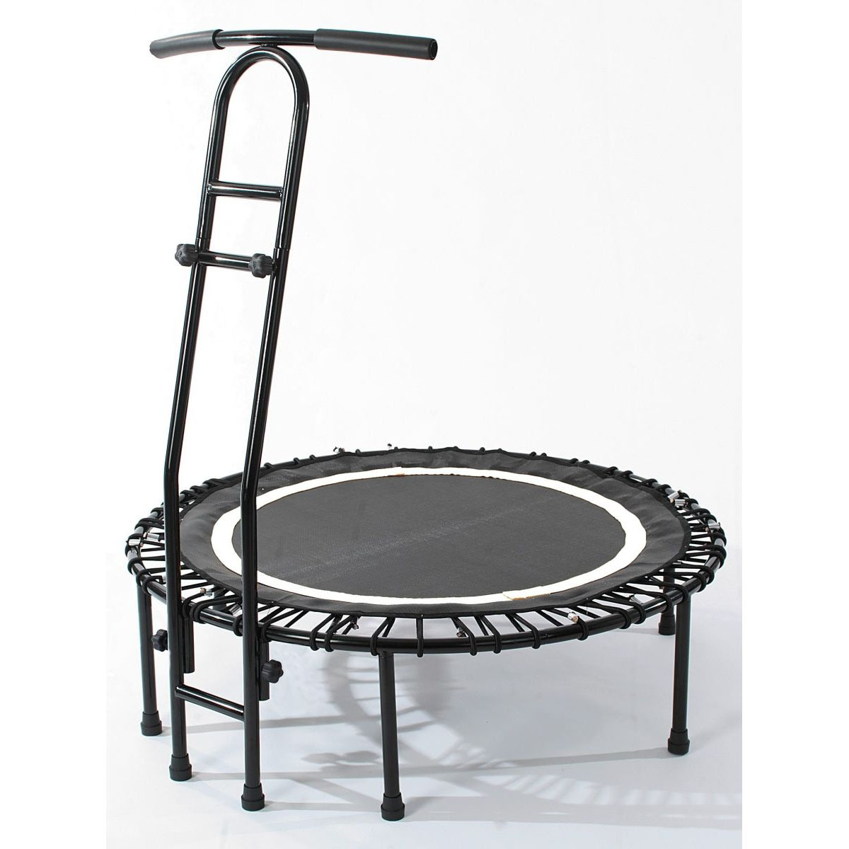 joka fit trampolin cacau indoor fitnesstrampolin mit griffstange schwarz wei ebay. Black Bedroom Furniture Sets. Home Design Ideas