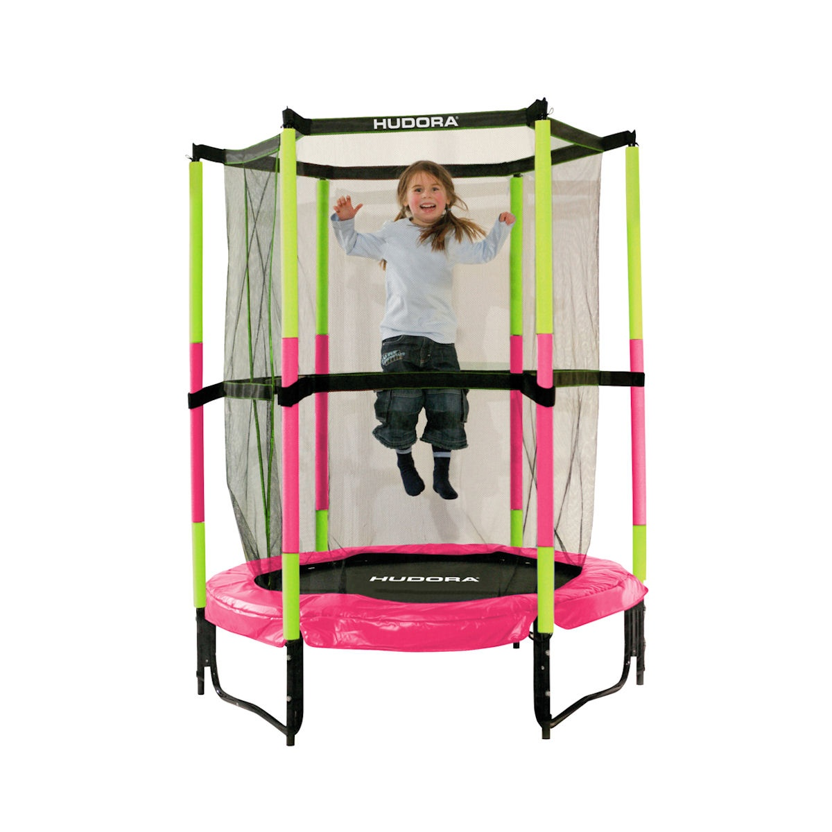 hudora trampolin jump in 140 cm indoor sicherheitstrampolin pink ebay. Black Bedroom Furniture Sets. Home Design Ideas